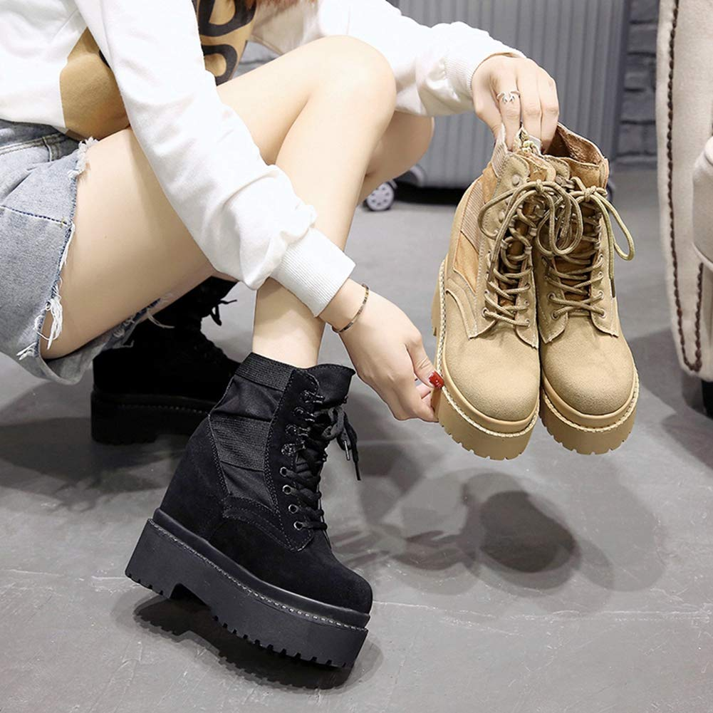 Women Fashion Platform Ankle Boots Casual Round Toe Lace-Up Winter Shoes Wedge Sneakers Snow Boots