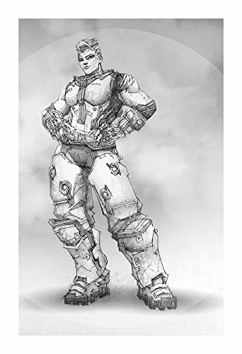 Zarya giclee print of pencil drawing of tank class character from overwatch video game