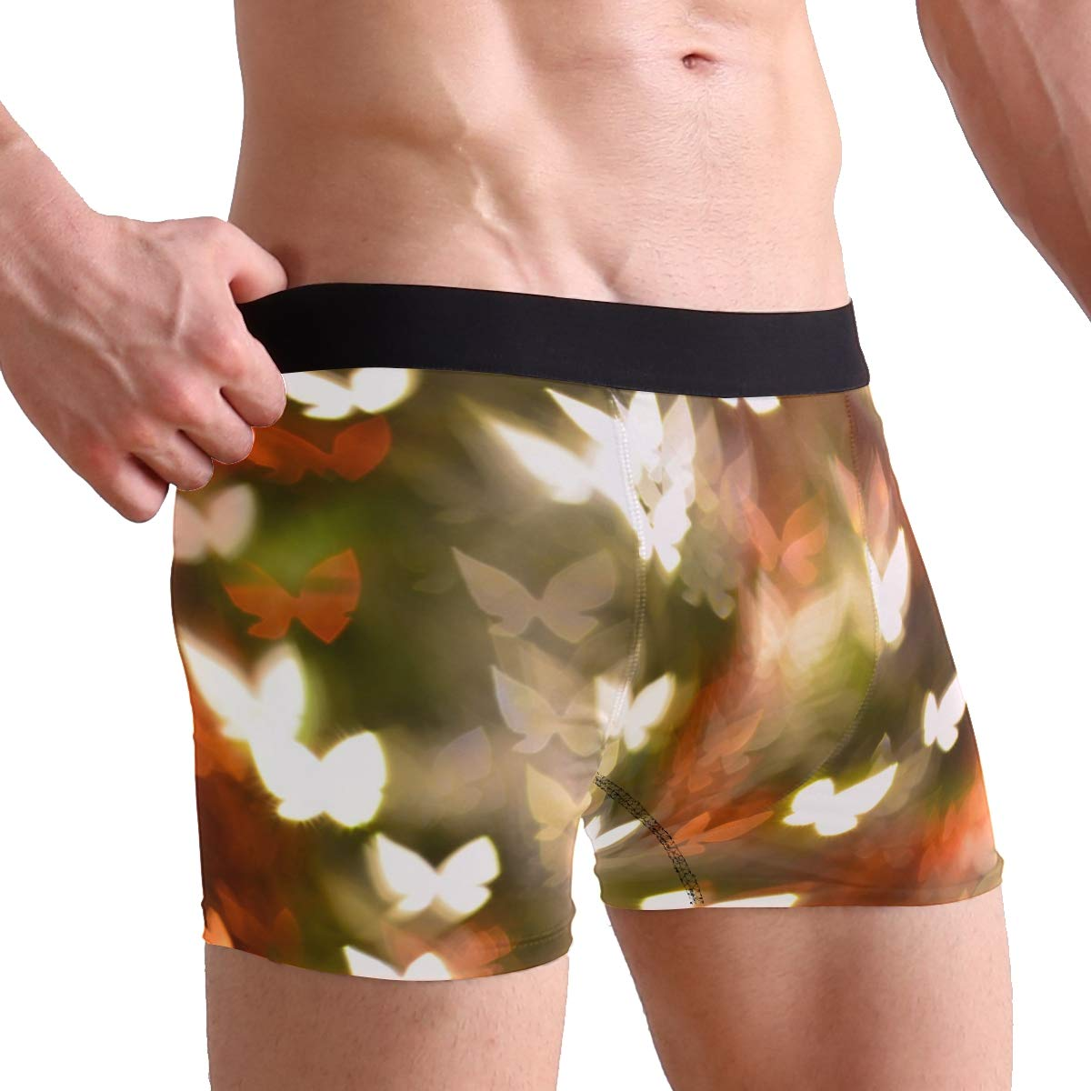 FAJRO Colorful Abstract Butterflies Shape Mens Regular Leg Boxer Brief Underwear