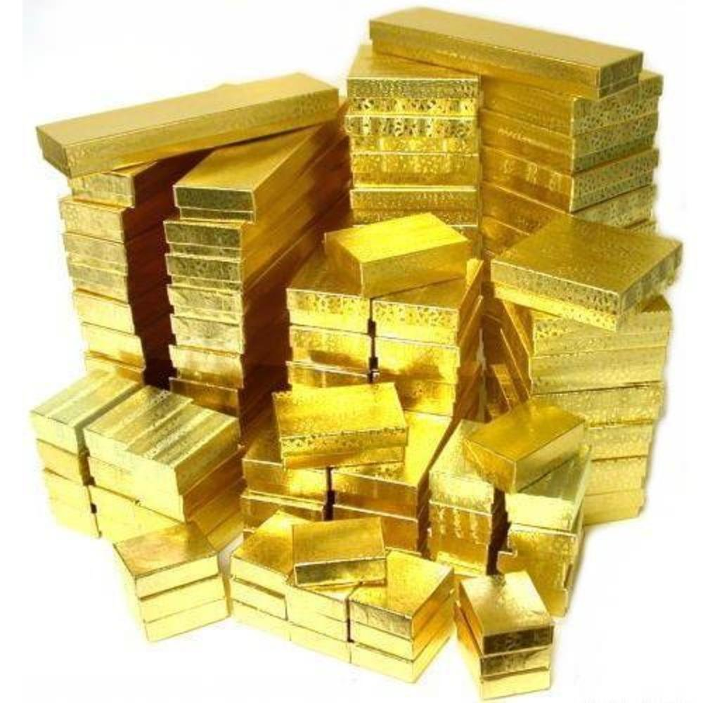 100 Gold High Quality Assorted Cotton Filled Jewelry Boxes