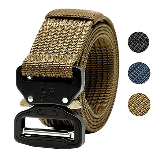 Tactical Belt,1.5 Inch Men's Web Army Military Quick Release Buckle Belt-Tan 53 inch(Gift (Military Belt)