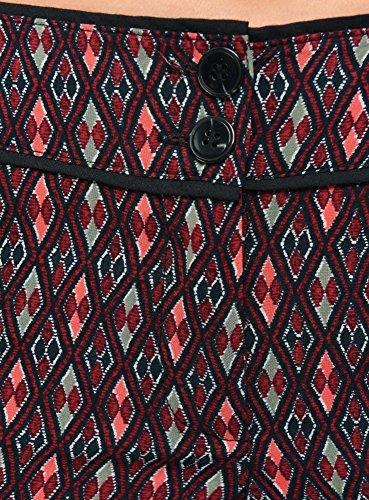 oodji Ultra Mujer Pantalón Ligero Estampado de Viscosa Rojo (4919G)
