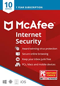 McAfee Internet Security 2020, 10 Device, Antivirus Software, Password Protection, 1 Year - Key Card