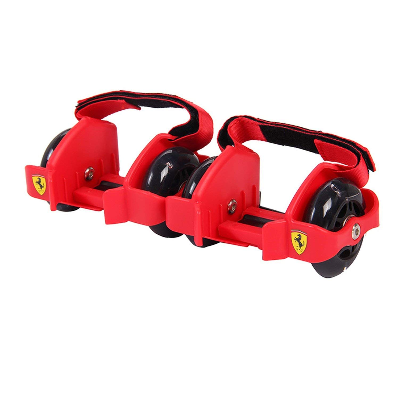Adjustable Simply Roller Skating Shoes with Dual Wheels Flashing Roller Wheels Heel Skate Rollers Shoe Skate Roller,Red