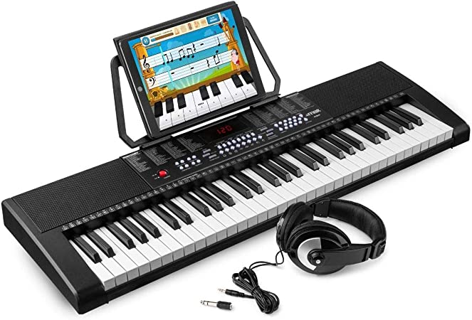 MAX KB4 Teclado electrónico piano de 61 teclas y auriculares