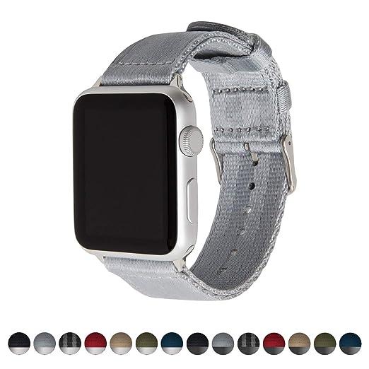 Archer Watch Straps | Cinturón de Seguridad Correa de Reloj de Nailon para Apple Watch, Hombre y Mujer | Gris/Acero Inoxidable, 38mm: Amazon.es: Relojes