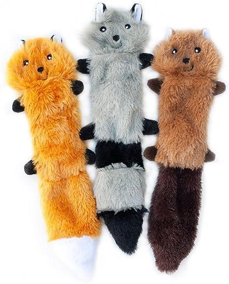 Pet Supplies : ZippyPaws - Skinny Peltz No Stuffing Squeaky Plush Dog Toy, Fox, Raccoon, and Squirrel - Small : Amazon.com