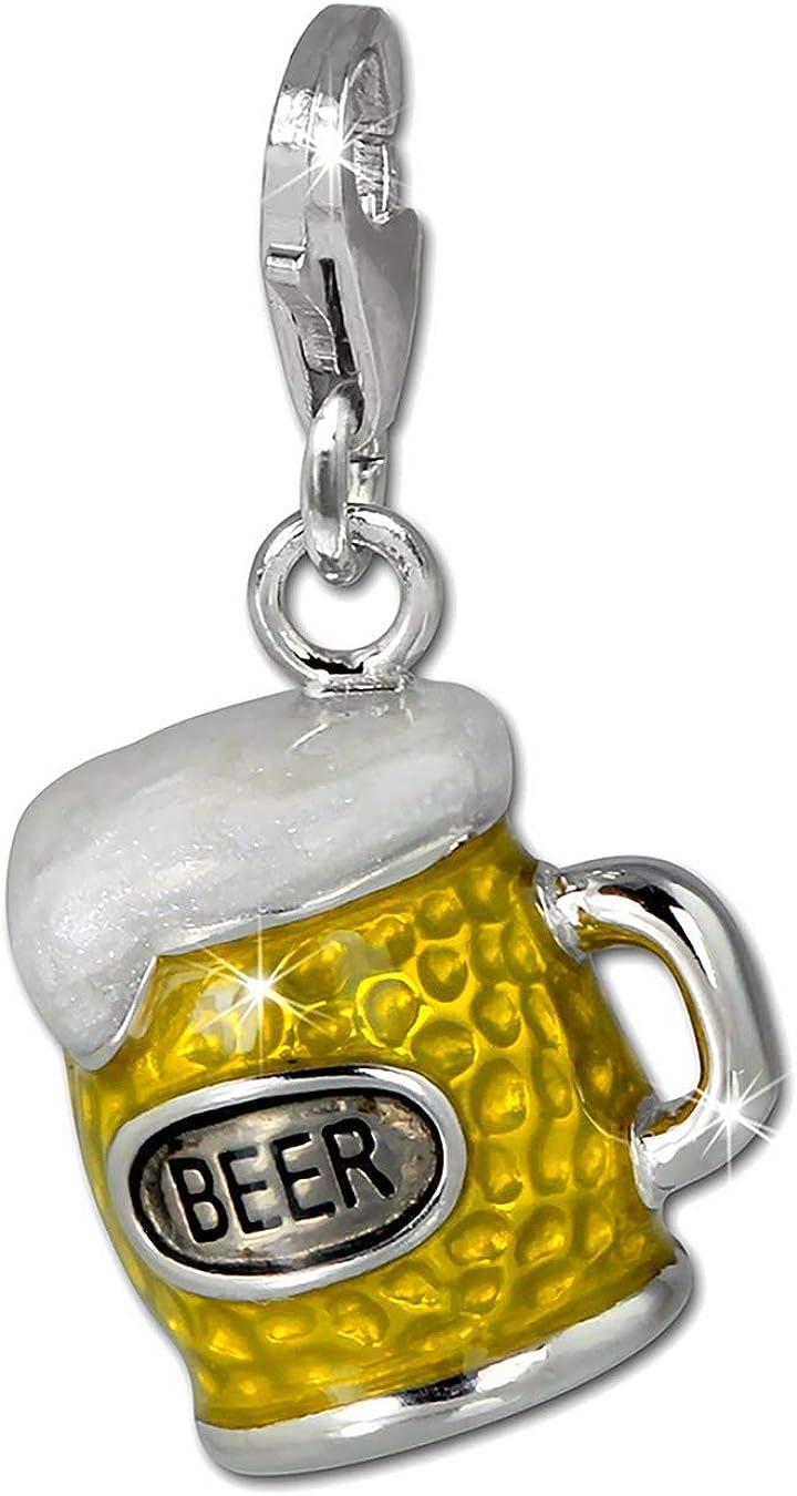 SilberDream Charm / Dijes - Jarro de cerveza - amarillo - con esmalte - 925/1000 Plata de ley - Colgante para la pulsera, collar FC860Y