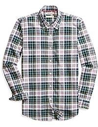 Men's Slim-Fit Long-Sleeve Lightweight Madras Plaid Shirt