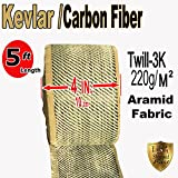 KEVLAR FABRIC-2x2 TWILL WEAVE-3K/200g (Ylw-Blk 5 ft x 4 in)