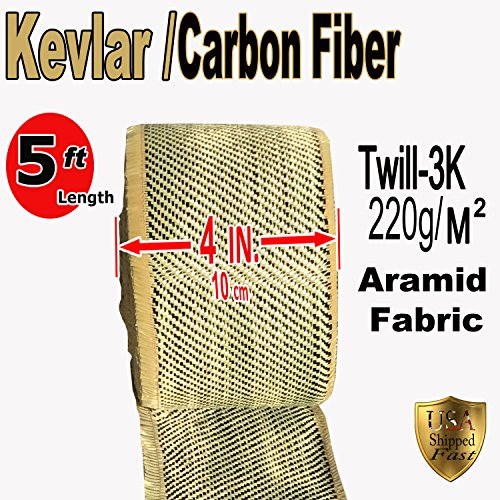 KEVLAR FABRIC-2x2 TWILL WEAVE-3K/200g (Ylw-Blk 5 ft x 4 in) Kevlar Fabric