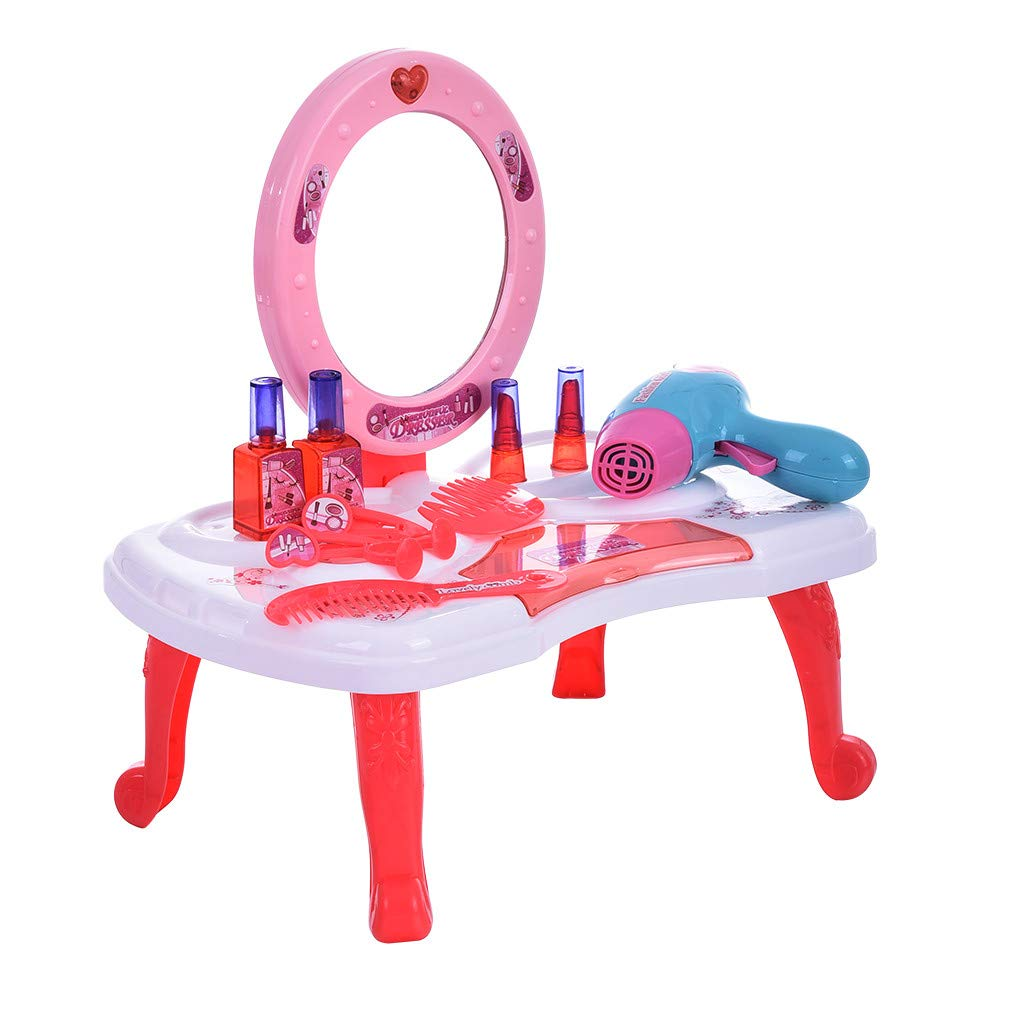 CreazyBee 2 in 1 Vanity Pretend Play Dressing Table&Suitcase Beauty Make Up Set Toy (Multicolor)