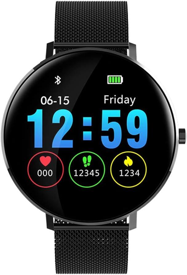 Smartwatch, Kivors IP68 Impermeable Reloj Inteligente Classic Ronda de Pantalla Táctil con Monitor Cardiaco, Monitor de Sueño, Podómetro, Notificación de Llamada y Mensaje para Android e iOS