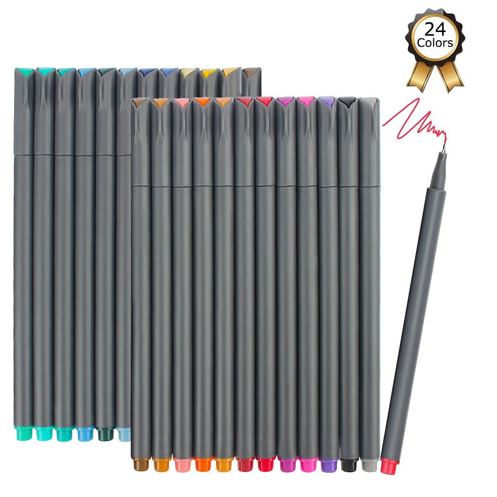 iBayam Fineliner Pens, 24 Colors Fine Tip Colored Writing Drawing Markers Pens Fine Line Point Marker Pen Set for Journaling Planner Note Calendar Coloring Office School Supplies Art Projects