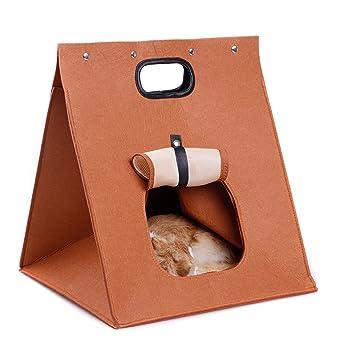 Uniqstore Casa portátil para Gato y pequeña Pequeña casa Portable del Perro y Gato Felt Mascotas