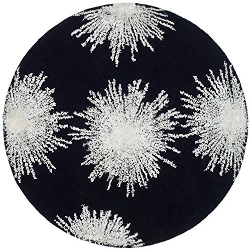 Safavieh Soho Collection SOH712D Handmade Fireworks Black and White Premium Wool Round Area Rug (8' Diameter)