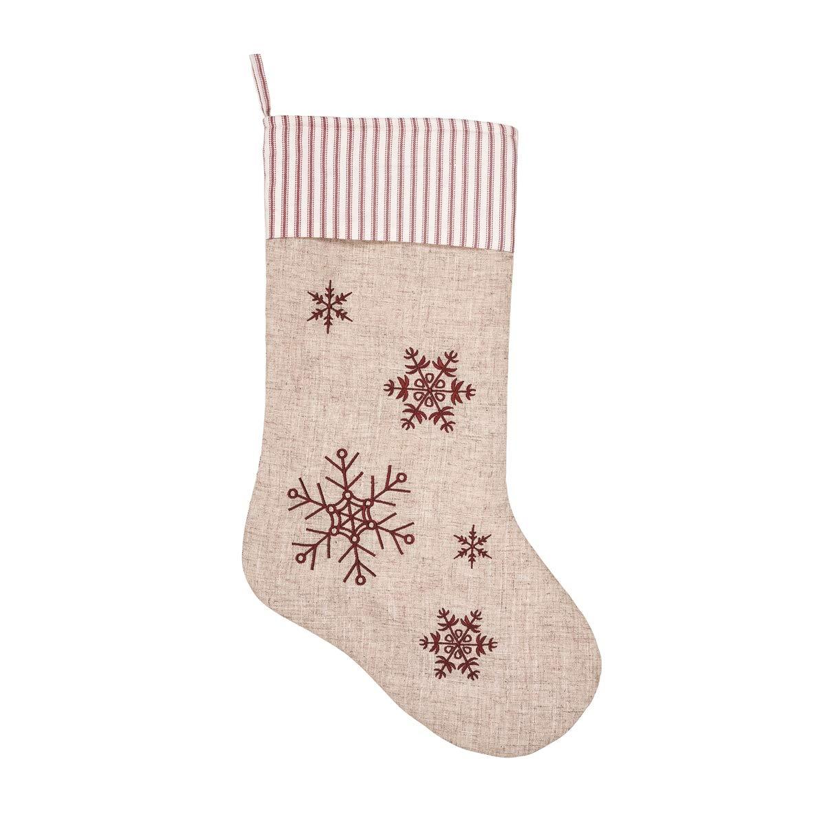 C/&F Home Snowflake Ticking Stripe Cuff Oatmeal Tan 20 x 9 Fabric Christmas Stocking
