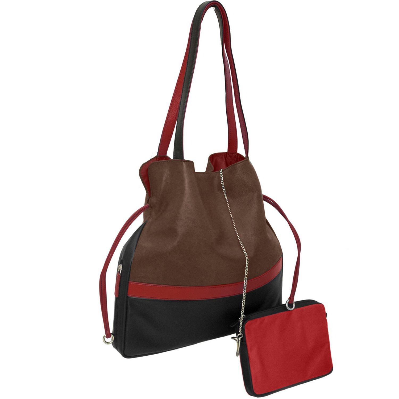 Toffee  Red  Black ILI 6094 Leather Drawstring Handbag