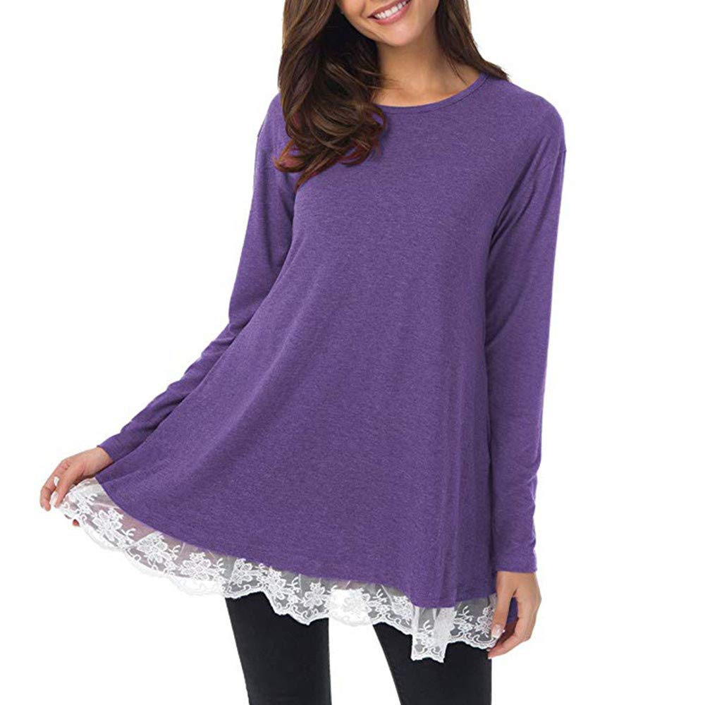 Women Plus Size Sweatshirt Casual Long Sleeve O-Neck Lace Loose Swing Top Blouse(Purple,X-Large)