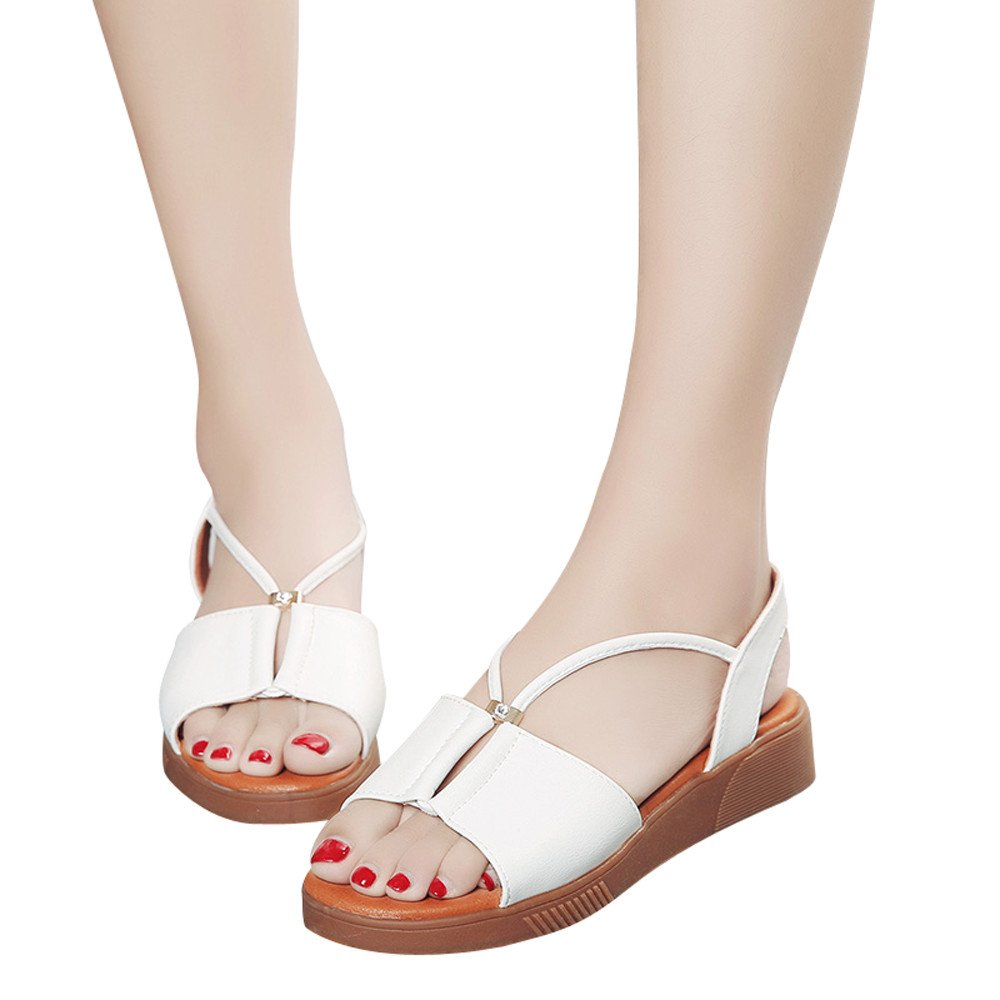 Sandals For Womens -Clearance Sale ,Farjing Women Vintage Breathable Flat Anti Skidding Open Toe Beach Shoes Rome Sandals(US:5,White )