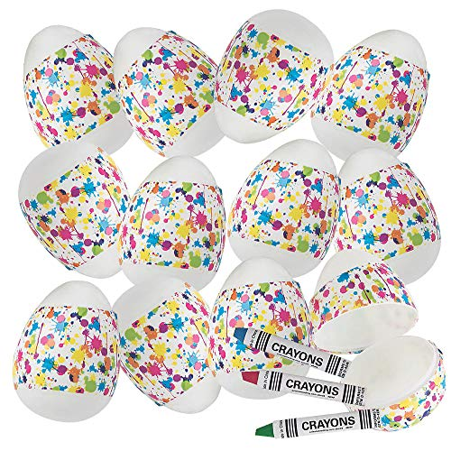 Crayon-Filled Easter Eggs- Pack of 12 Paint-Splatter Design Pre-filled Easter Eggs with Crayons Inside - Good for Easter Egg Hunts, Easter Activity and Event Prizes and Rewards ()