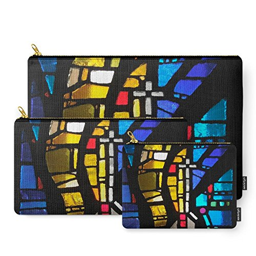 Society6 Stained Glass With Cross Carry-All Pouch Set of 3