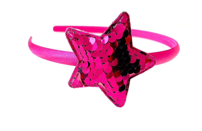 Baby Pink Satin Girls Hairband Headband Alice Band Pink Glitter Sparkle Stars