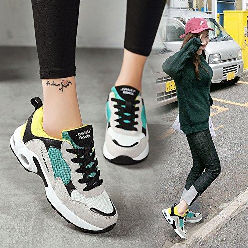 Mujer Estudiante Zapatos Hasag de Moda Casual nuevos green de de Zapatos Zapatos Malla de Yellow 77qSZrE