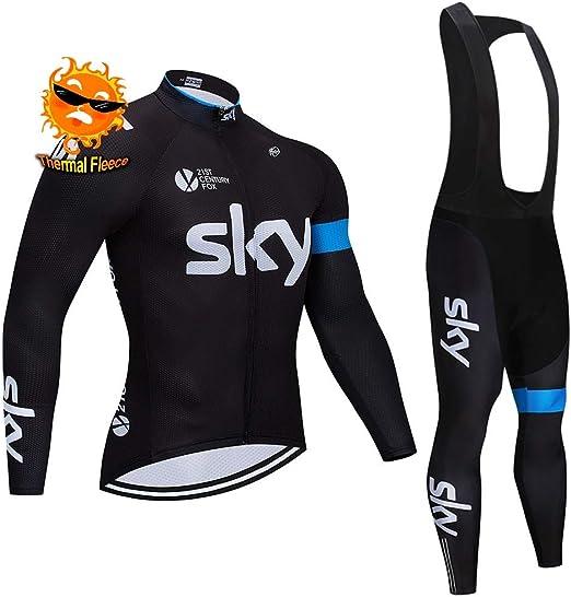 Moxilyn Maillot De Cyclisme,Tenue Cyclisme Homme Hiver,Manches Longues+Pantalon V/êtements De Fitness,Coussin 9D Gel,Costume De Cyclisme,Coupe-Vent Et Chaud