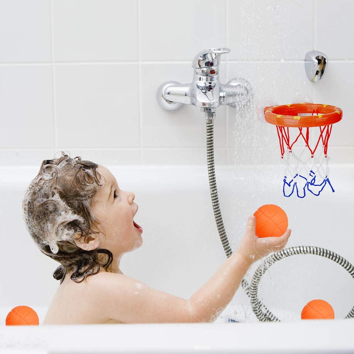 DEWEL Mini Cansasta Baloncesto Infantil,Jugute de Ba/ño para ni/ños,Tablero de Pared de Baloncesto Juego de Oficina y Casa,Incluyendo Inflador y 3 Pelotas