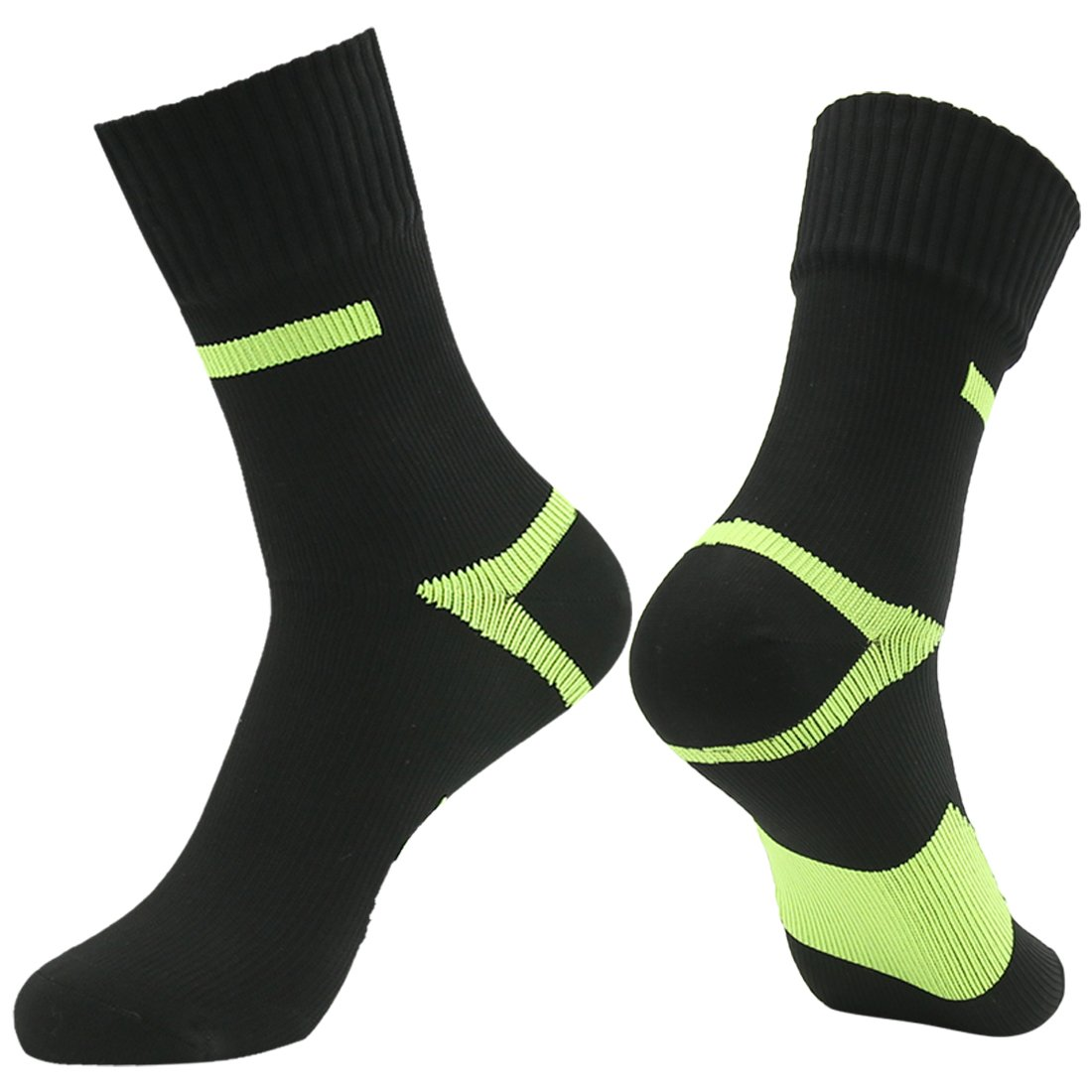 RANDY SUN Breathable Waterproof Socks, Men's Funny High Performance Cushioned Color Socks Black Green by RANDY SUN