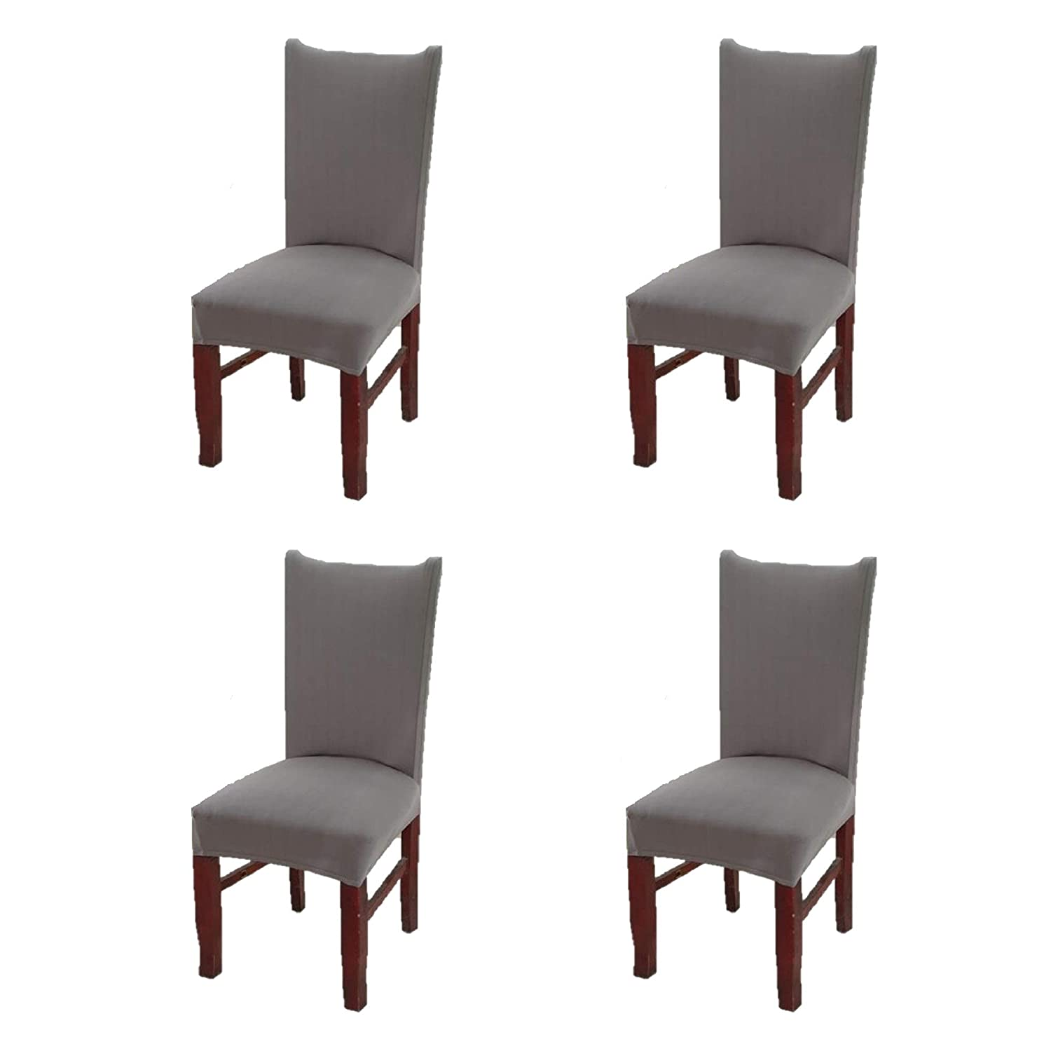 Argstar 4 Pack Chair Covers for Dining Room Spendex Slipcovers Soft Gray
