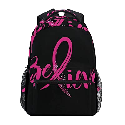 "Stylish Believe Breast Cancer Backpack- Lightweight School College Travel Bags, ChunBB 16"" x 11.5"" x 8"" 