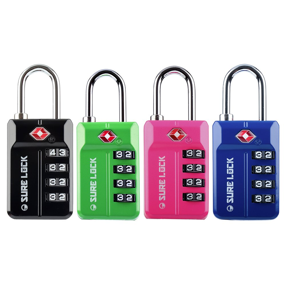 SURE LOCK TSA Compatible Travel Luggage Locks, Inspection Indicator, Easy Read Dials- 1, 2 & 4 Pack