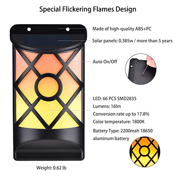Lámpara de Pared de Llama WZTO LED Sensor de Luz Lámpara de Llamas Impermeable Lámparas Solares con Parpadeo Llama para Jardín Camino Deck Patio (66LED ...