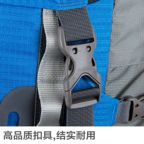 Hiking Backpack 70L 420D Water Resistant Nylon Hiking Trekking Rucksack (34*32*88cm) with Cover Blue