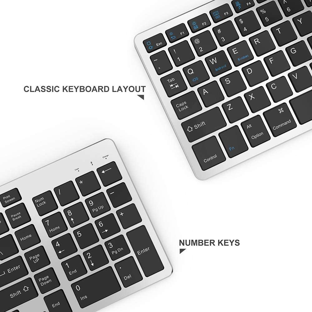 Gray Black Wireless Keyboard Office Keyboard Silent Ultra-Thin Models for Multi-Device Connection Simple and Easy to Carry