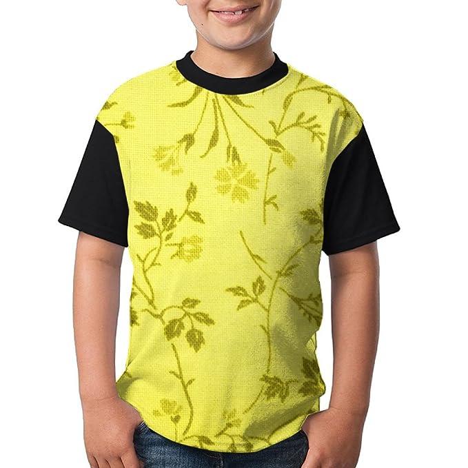 54bedf816 Amazon.com  SIGOU Teen s Raglan T-Shirt Yellow Floral Print Fabric ...