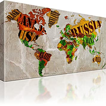 World map canvas wall art multicoloured 80 x 45 cm amazon world map canvas wall art multicoloured 80 x 45 cm gumiabroncs Images