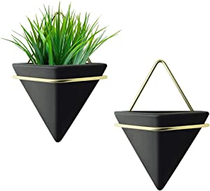 Wall Planter Set fo 2 Large ,Wall Decor Geometric Planter Hanging Plant for Home Succulent, Air, Cactus, Faux Plants, Indoor Wall Decor Home Gift(Black)