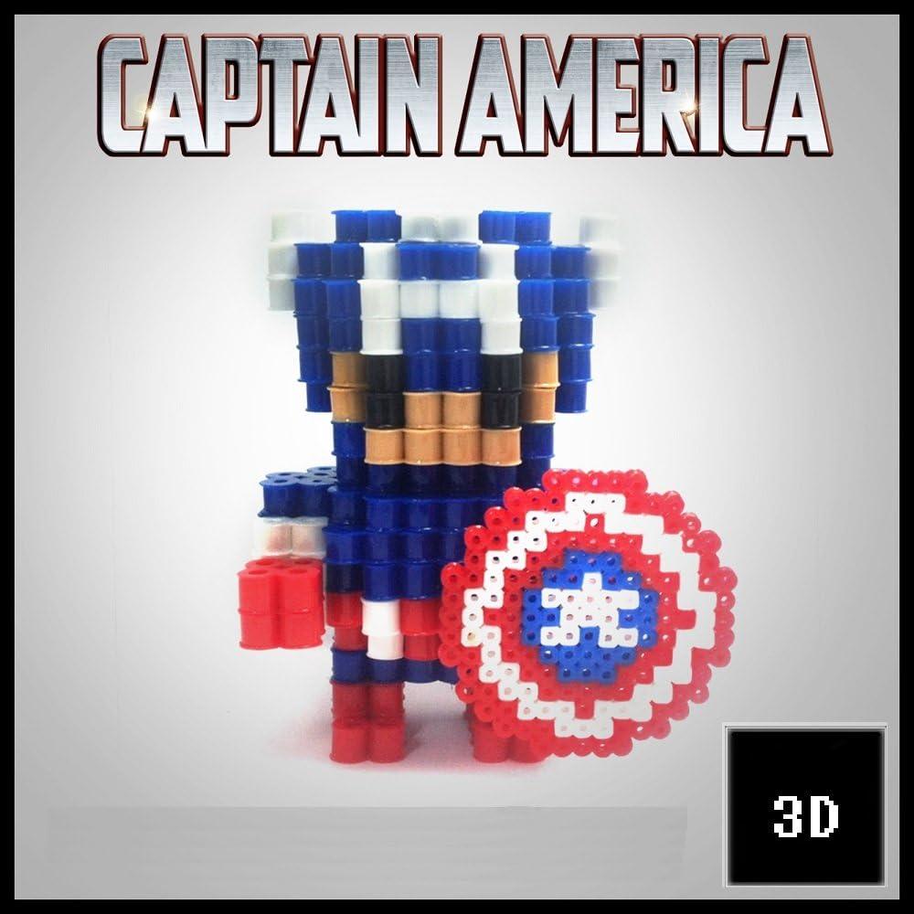 Figuras 3D de Pixel Art hama hechas a mano modelo Capitan America ...