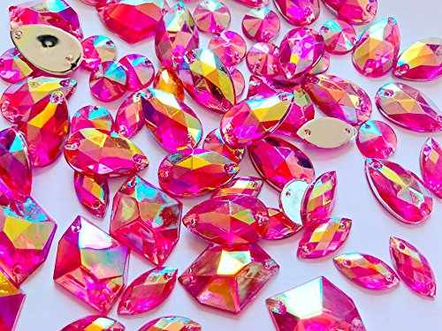 new 300pcs mixed shape size rose red AB colour crystal sew on rhinestones Acryl loose Beads hand sewing - Acryl Red Rose