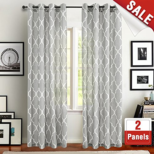 Moroccan Tile Printed Linen Curtains 95 inch Long for Bedroom Curtain Living room Window Drapes - Lattice Grommet Top - Set of Two, Quatrefoil Grey Curtain (Polyester Screen Printed)