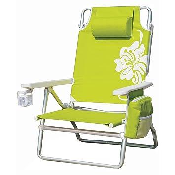 Nautica Light Weight 5 Position Aluminum Beach Chair With Neck Pillow