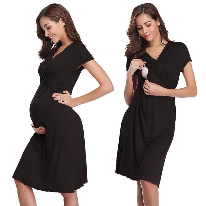 9ba7ed0ab2 Pigiama Camicia da Notte Premaman da Donna Morbido in Cotone Manica Corta per  Parto Ospedale Allattamento S: Amazon.it: Abbigliamento