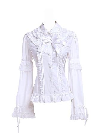 Blanca Algodón Volantes Encaje Vintage Victoriana Kawaii Lolita Camisa Blusa de Mujer: Amazon.es: Ropa y accesorios