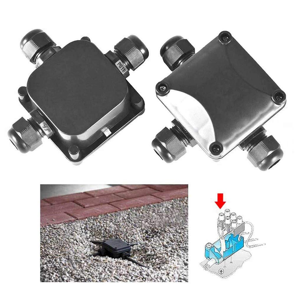 SODIAL Junction Box,IP68 Waterproof 3-Way Cable Connectors for Outdoor Lighting External Junction Box 6.5-10.5mm Pack of 5