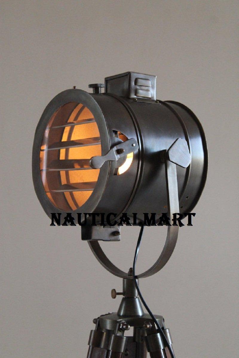 Antique Tripod Nautical Floor Lamp, Industrial Vintage Look Lamp for Living Room, Bedroom, Restaurant, Hotel, Pub, Clubs, By Nauticalmart