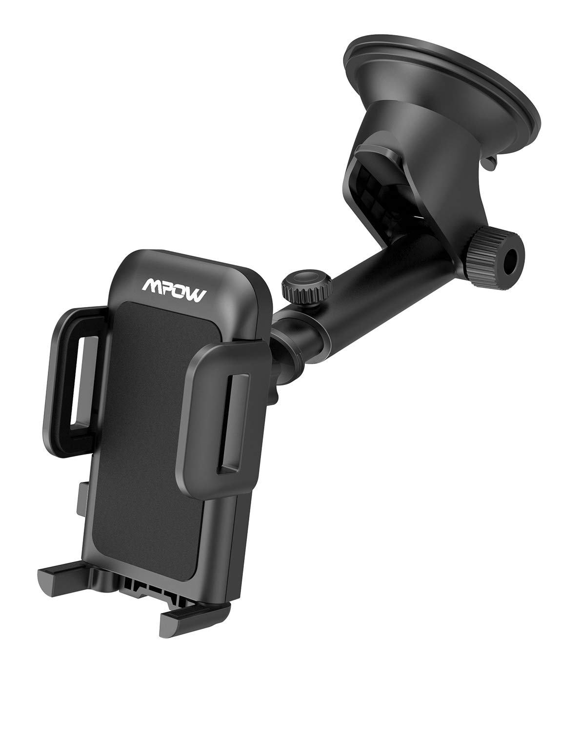Mpow Upgrade Dashboard Car Phone Mount, Adjustable Windshield Holder Cradle with Strong Sticky Gel Pad Compatible iPhone XS Max, XS, XR, X, 8, 8Plus, 7, 7Plus, 6S, Galaxy S8, S9, S10, Google, Black by Mpow