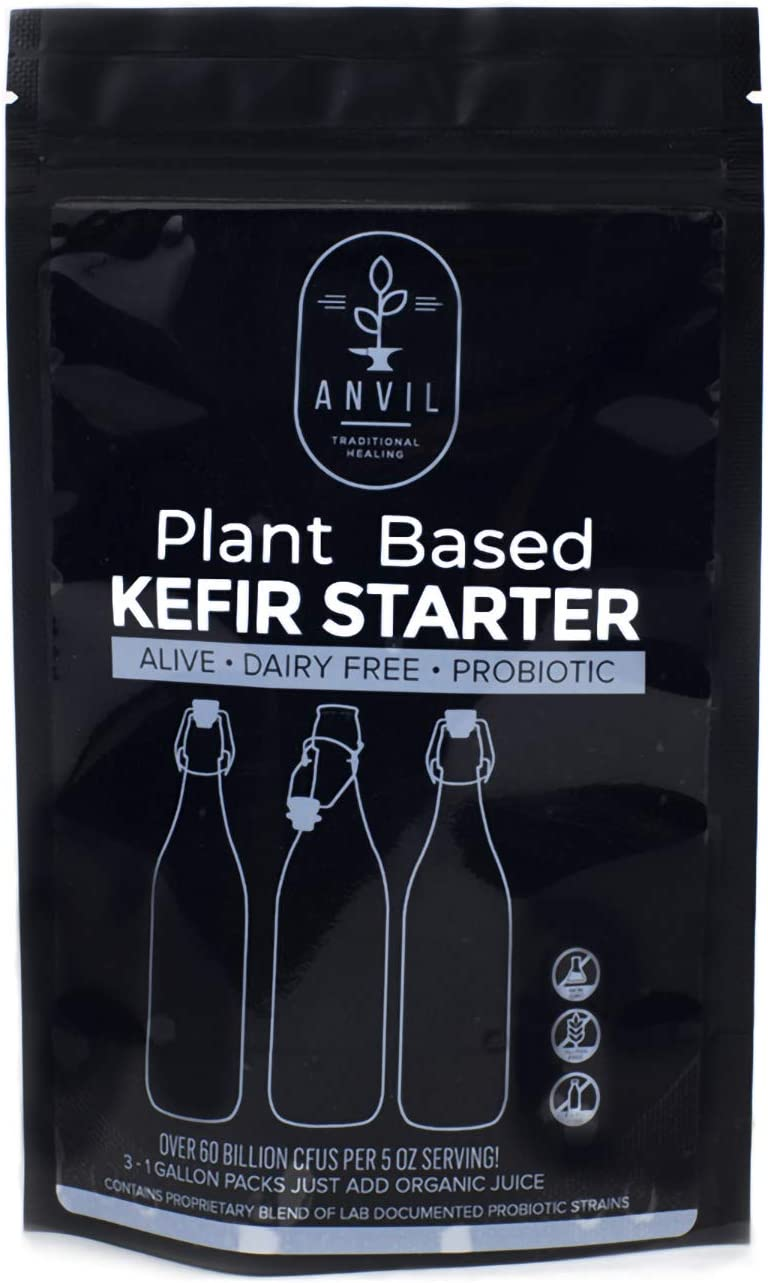 Organic Plant Based Dehydrated Kefir Starter - Alive and Active Probiotic Kit will produce 12 quarts of juice kefir - over 60 billion CFUs per serving - dairy free by Anvil Traditional Healing
